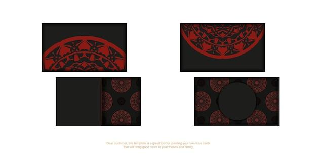 Подготовка векторной визитной карточки с местом для текста и старинных образцов. дизайн визитной карточки в черном цвете с красным орнаментом мандалы.