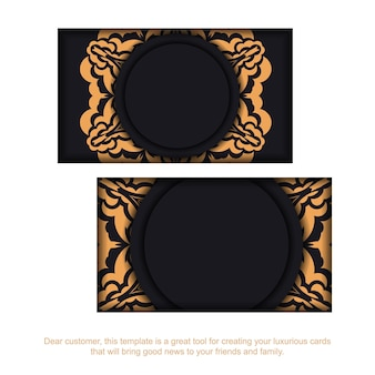 Vector business card preparation with place for your text and vintage ornament. black business card design with luxurious patterns.