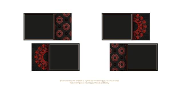 あなたのテキストとヴィンテージの飾りのための場所とベクトル名刺テンプレート。ギリシャの赤いパターンで黒のプリントデザイン名刺のテンプレート。