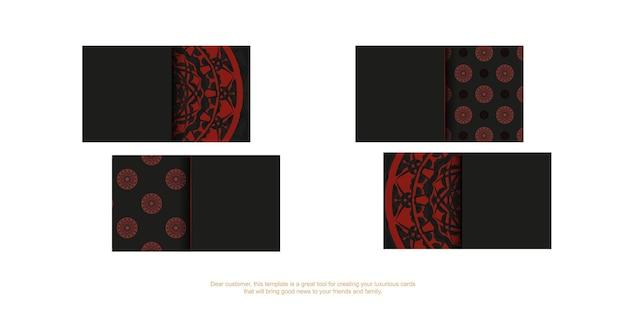 Вектор шаблон визитной карточки с местом для текста и старинного орнамента. шаблон для полиграфического дизайна визитных карточек в черном цвете с красными узорами мандалы.