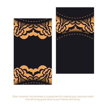 Vector business card template with place for your text and vintage ornament. template for print design of business cards in black color with luxury patterns.