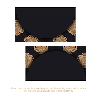 Vector business cards with place for your text and vintage ornaments. template for print design of business cards in black with luxury ornaments.