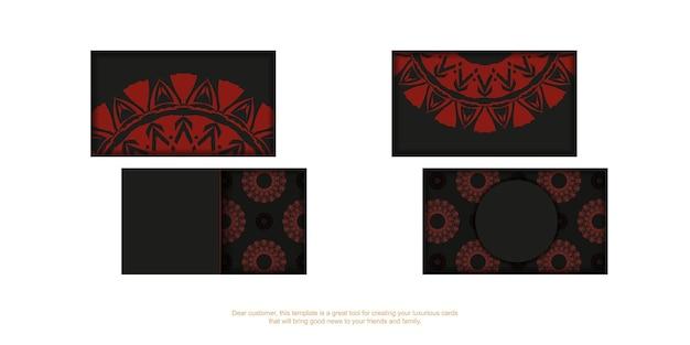 あなたのテキストとビンテージパターンのためのスペースで名刺をベクトルします。ギリシャの赤いパターンで印刷可能な黒い名刺デザイン。