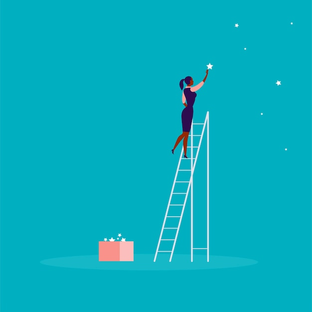 階段の上に立って、空の星に到達するビジネス女性とベクトルビジネスコンセプトイラスト。青い背景。あなたの夢、願望、解決策に到達してください-比喩。