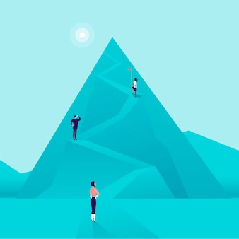 Vector business concept illustration with business people climbing mountain road up. flat style. career, lady leadership, growth, new goals, aspirations, women move up, follow your dreams - metaphor.