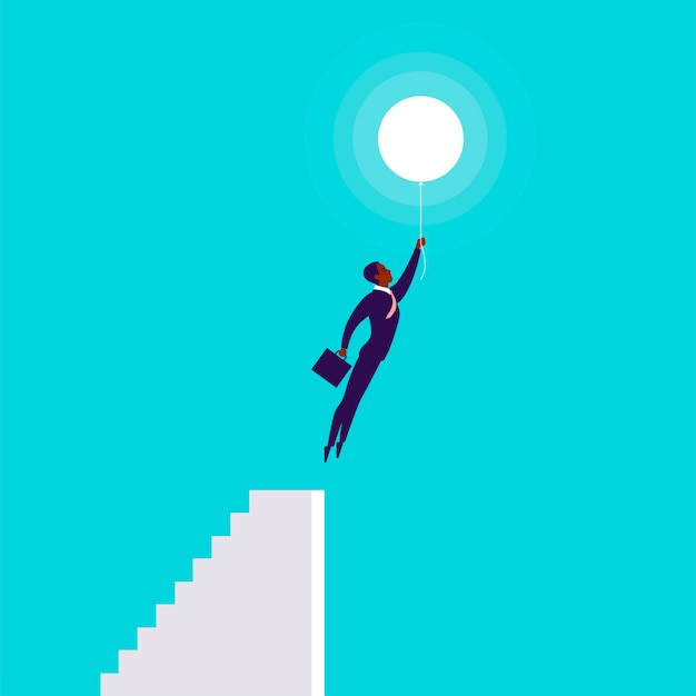 Vector business concept illustration with businessman flying up with air balloon from stairs isolated on blue background. success, growth, career, achievement, solution, idea aspirations metaphor.