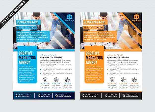 ベクタービジネスのチラシモダンなオレンジとブルーのコーポレートデザイン。