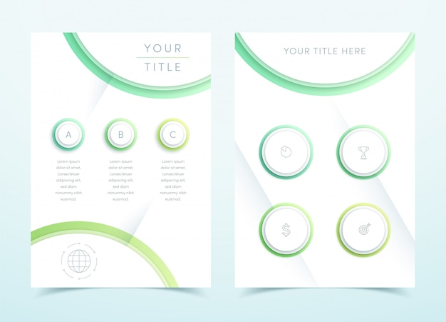 Vector business green 3d page template infographic