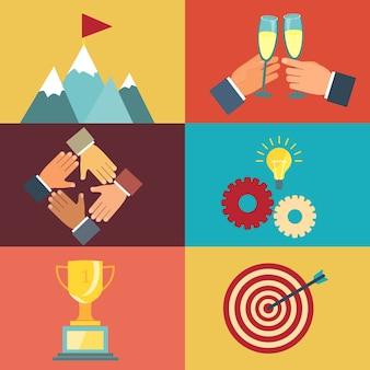 현대 평면 스타일의 성공을 위해 노력하는 것에 대한 벡터 비즈니스 리더십 삽화