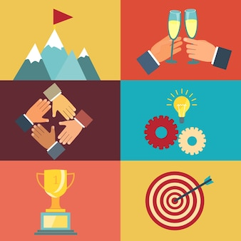 Illustrazioni vettoriali di leadership aziendale sulla ricerca del successo in moderno stile piatto Vettore gratuito