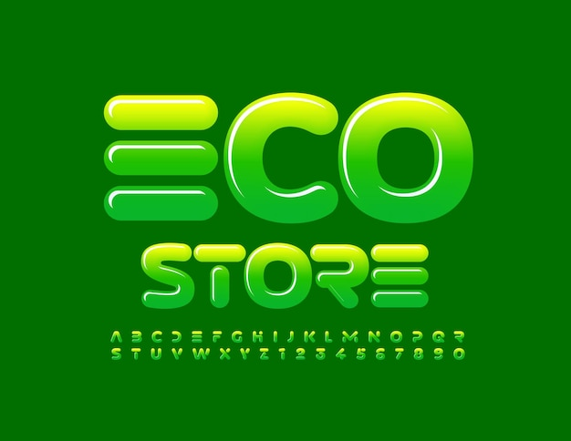 ベクトルビジネスロゴエコストア緑のグラデーションフォント抽象的なスタイルのアルファベット文字と数字のセット