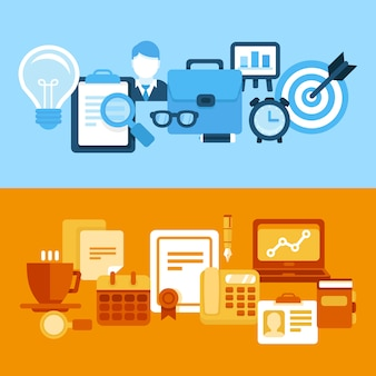 Vector business and managementin flat style