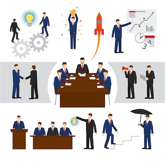 Vector business people and business teamwork