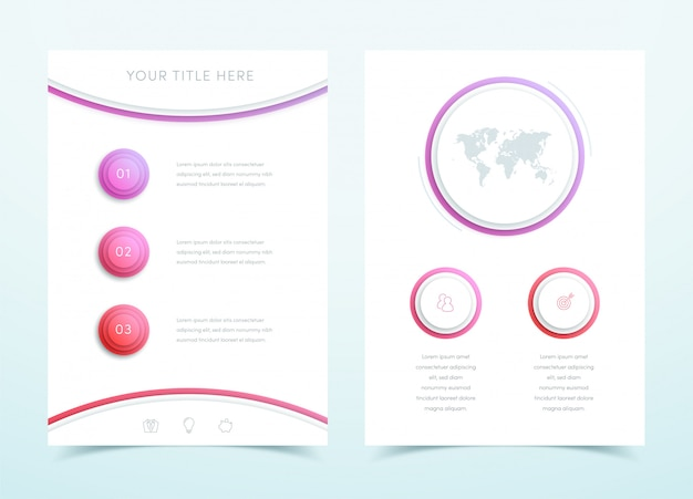 Vector business red 3d page template