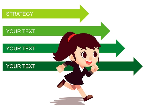 Vector business woman character running with arrow directions in background.