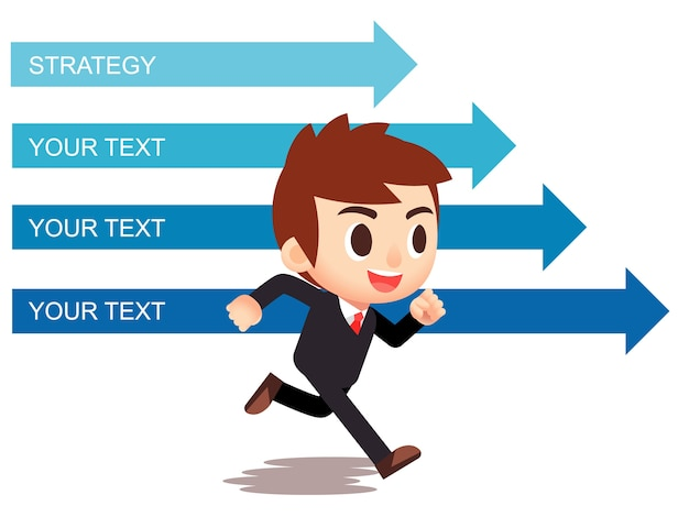 Vector businessman character running with arrow directions in background.