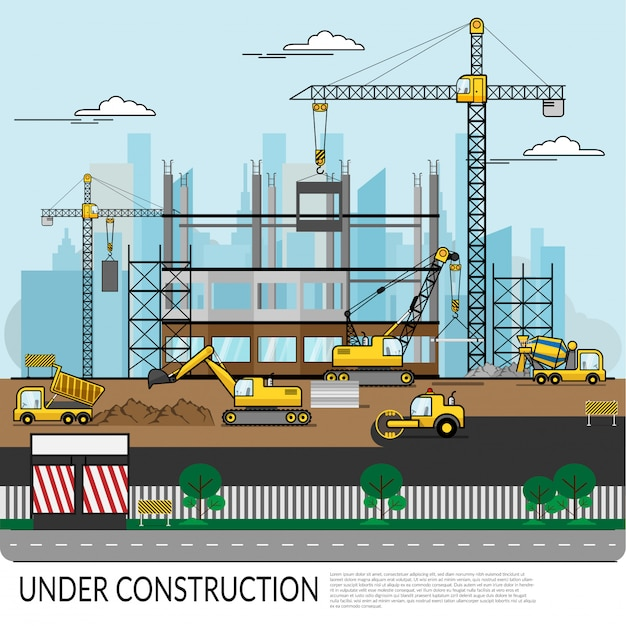 Vector of busy construction site with workers