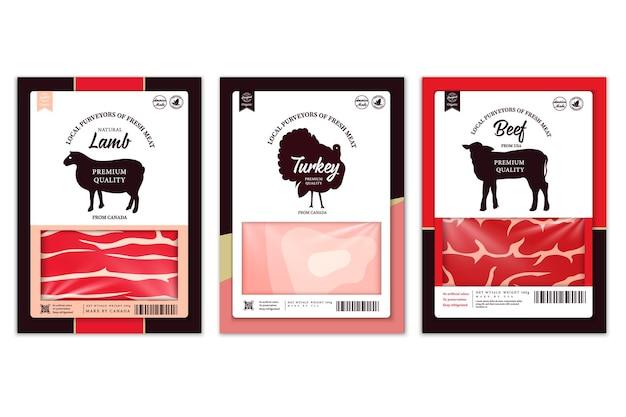 Векторные ярлыки бойни с силуэтами сельскохозяйственных животных. иконки и текстуры мяса коровы, курицы, свиньи, баранины, индейки и утки для продуктов, мясных магазинов, упаковки и рекламы