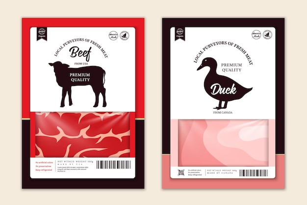 Vector butchery labels with farm animal silhouettes. cow, chicken, pig, lamb turkey and duck icons and meat textures for groceries, meat stores, packaging and advertising
