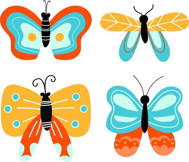 만화 스타일의 벡터 나비와 나방 클립 아트 그림
