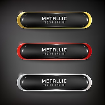 Vector buttons web glossy and steel  for web color gold  silver black red 3