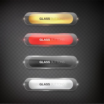 Vector buttons web glossy and steel  for web color gold  silver black red