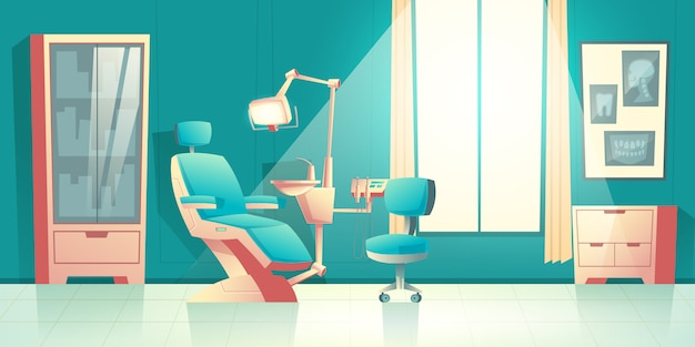 Vector cabinet of dentist, cartoon interior with comfortable chair