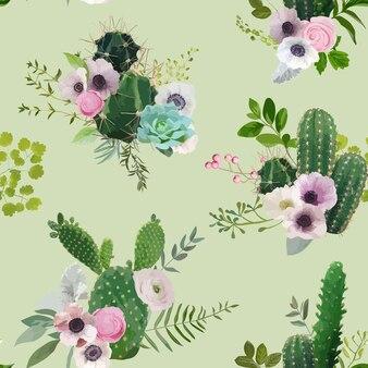 ベクトルサボテンと花のシームレスなパターン。エキゾチックな熱帯の夏の植物の背景。