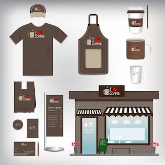 벡터 카페 숍 세트는 레이아웃에 사용할 수 있습니다