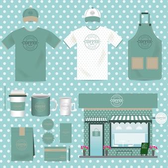 Векторный cafe shop set vintage style можно использовать для макета