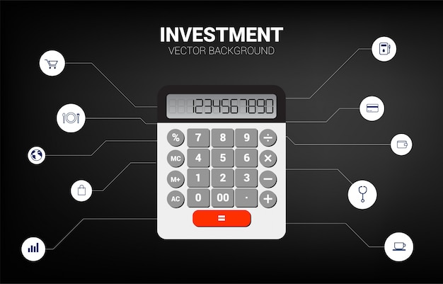 Vector calculator with functional elements. concept for business information investment and accounting