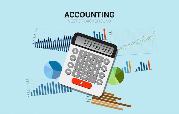 Vector calculator with multiple graph. concept for business information investment and accounting