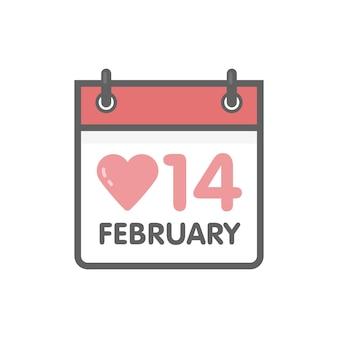 Вектор значок календаря 14 февраля день святого валентина.