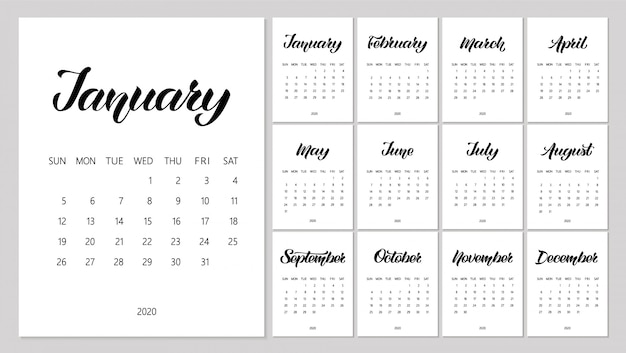 Vector calendar planner for 2020 year with handdrawn lettering