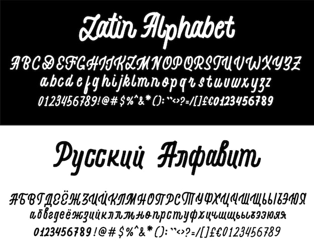 Vector calligraphy alphabet russian and latin exclusive letters