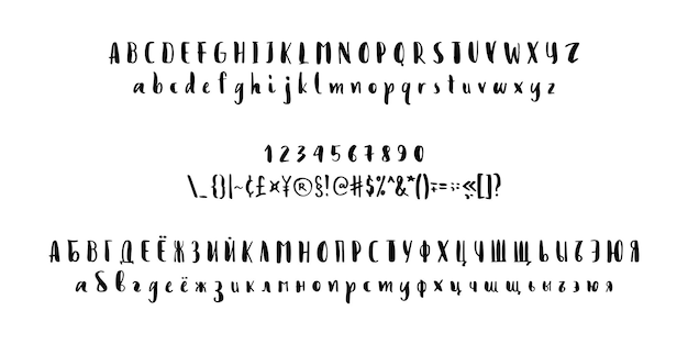 Vector calligraphy alphabet russian and latin