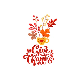 Vector calligraphy lettering text give thank