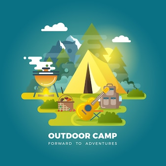 Vector camping background with tourist tent. camping outdoor, travel camp, tourism camp with tent illustration