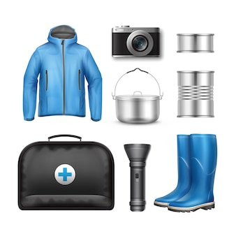 Vector camping stuff blue unisex jacket, camping pot, canned goods, pocket flashlight, rubber boots, photo camera and first aid kit box