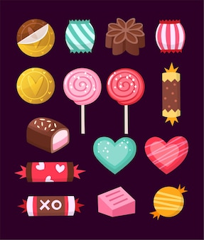 Vector candies decorated with valentines day elements and ornaments made in bright untraditional colors.