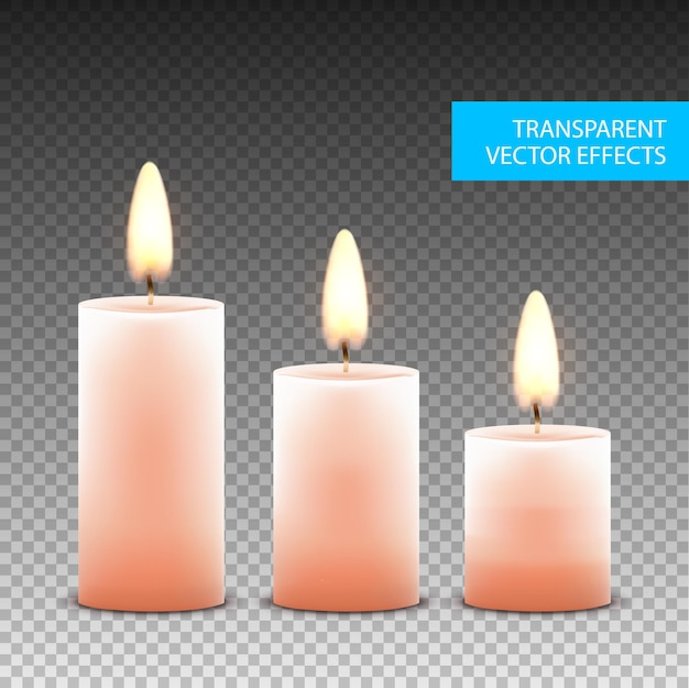 Vector candle wax isolated decoration. candlelight flame
