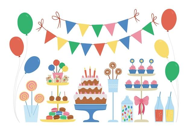 벡터 캔디 바입니다. 케이크, 양초, 컵케이크, 케이크 팝, 젤리 빈, 깃발이 있는 귀엽고 밝은 생일 식사. 카드, 포스터, 인쇄 디자인을 위한 재미있는 디저트 삽화. 아이들을 위한 밝은 휴가 개념.