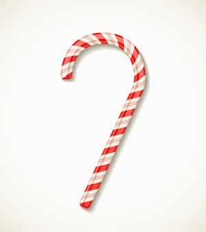 Vector candy cane with red stripes isolated on white realistic vector