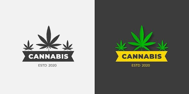 벡터 대마초 로고, 흰색과 검은색 바탕에 유기농 녹색 잔디. 유기농 마리화나 cbd 및 thc 그래픽 레이블 템플릿입니다. 의료용 사티바 및 인디카 엠블럼 디자인