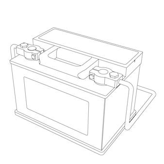 Вектор автомобильный аккумулятор с подключенными клеммами линии иллюстрации