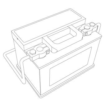 接続された端子線スケッチイラストとベクトルカーバッテリー