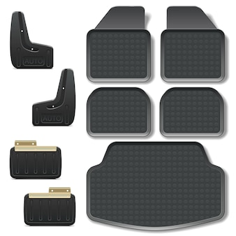 Vector car mats set 2 isolated on white background