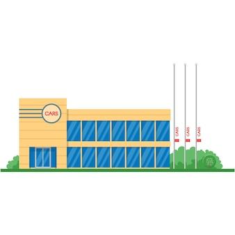 Vector car showroom auto dealership building flat icon