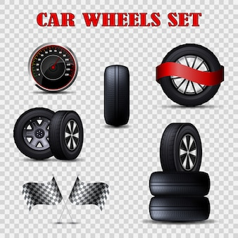 Vector car wheels set flat tires and speedometer.