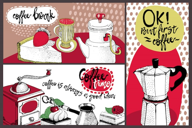 Vector card design with hand drawn coffee and dessert illustration.